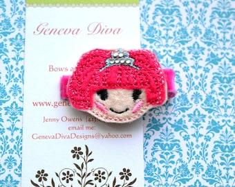 NEW....Lala Princess Embroidered Felt Hairclip