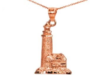 14k Rose Gold Lighthouse Necklace