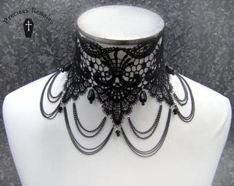 Widow's Weeds Choker // Elegant Jet Black Lace Gothic Romantic Neckpiece