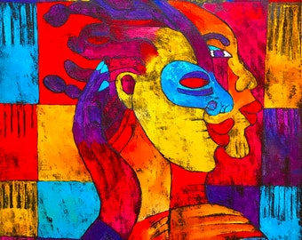 Spirit Warrior - ooak - 20 x 16ins (50 x 40cms) We are all warriors deep in our souls