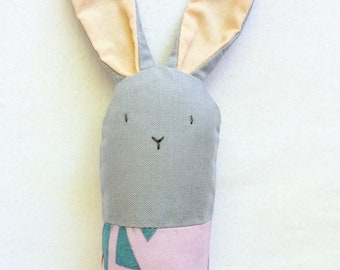 Gray and Purple Bunny Rattle - Soft Baby Toy