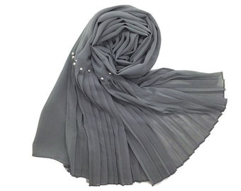 Premium Chiffon scarf with One Sided Pleated border and Pearls - Grey
