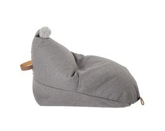 Chaise de sac d'haricot gris laine enfants «Sterling»