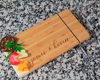 Personalized Cheese Board, Custom Cheese Board, Personalized Cutting Board, Engraved Cheese Board, Wedding gift, Cheese board with cutter