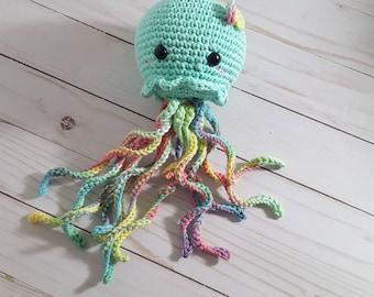 Crochet Jellyfish,Mint Rainbow Jellyfish, Crochet Toy, Amigurumi Toy, Amigurumi Jellyfish, Kawaii Jellyfish, Crochet Sea Creature