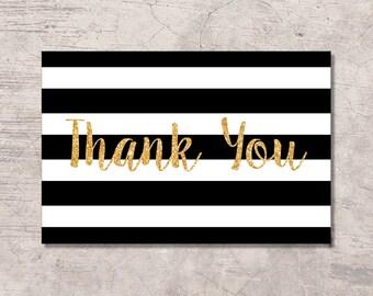 Thank You Card Printable Black and Gold, black white stripes gold glitter, digital file instant download, baby shower bridal shower wedding