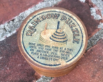 Vintage Early Small Wooden Rainbow Puzzle Box Unique
