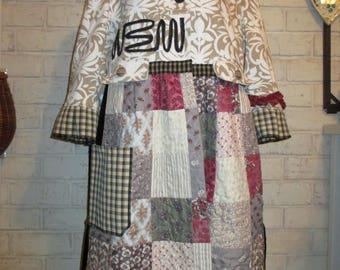 Women's upcycled, repurposed, whimsical, XL coat, boho/bohemian, shabby, artsy, funky junk style, romantic chic