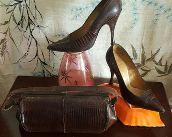 Dark Brown Vintage Purse & Matching Heels 1940s Lizard Reptile Skin Handbag Pumps Stiletto Shoes