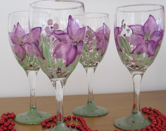 ON SALE Wine Glasses hand painted purple lillies, great Birthday gift, Housewarming gift, Mothersday, Bridal shower, Teacher, Easter,