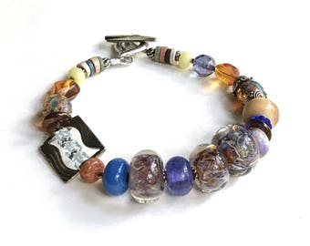 Blue Amber Purple Lampwork Sterling Silver Boho Beaded Bracelet,  Rainbow Eclectic, for her Under 180, US Free Shipping
