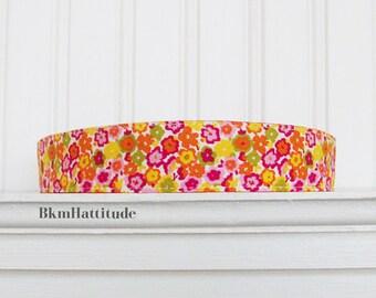 Womens Headband, Fabric Headband, White, Orange, Yellow and Pink,  Floral Headband, Adult Headband, Cotton Headband