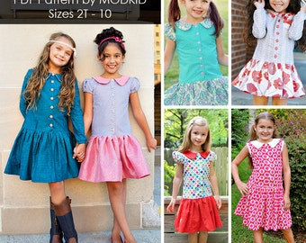 Avery Drop-Waist Dress PDF Downloadable Pattern by MODKID... sizes 2T to 10 Girls included - Instant Download