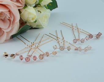 Rose gold hairpins with Swarovski crystals in peach and blush pink colours.Perfect for Bridesmaids or Prom.
