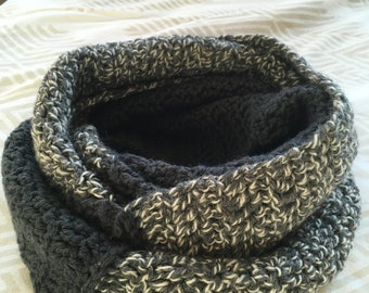 Handmade Crochet Infinity scarf gray