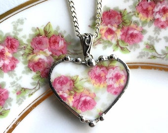 Dishfunctional Designs - Antique French porcelain  - broken china jewelry heart pendant necklace - soft pink roses