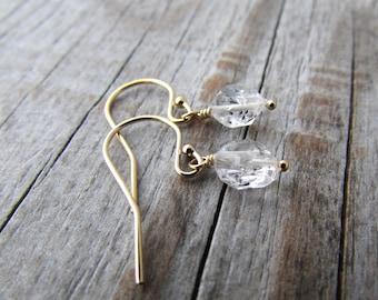 Herkimer Diamond Earrings, gold, simple, small, herkimer diamond dangles