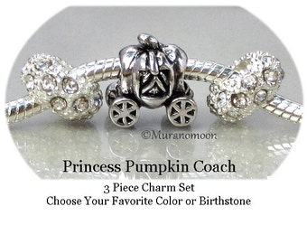 Fairy Princess Pumpkin Coach Charm Fairy Taile Bead Charm Bracelet Birthstone Crystal Large Big Hole Add A Bead Make Your Own Jewelry #CB201