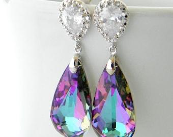 Purple Bridesmaid Earrings Set of 5, Purple Bridesmaid Jewelry, Teal and Purple Wedding Jewelry, Vitrail Light, CZ Drop Earrings