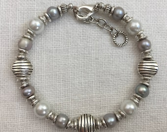 Modern White and Gray Pearl and Silver Bracelet, Pearl and Silver Bangle Bracelet, Memory Wire Bracelet, Contemporary Bracelet (M-122)