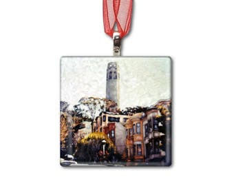 Coit Tower in San Francisco - Handmade Glass Photo Ornament