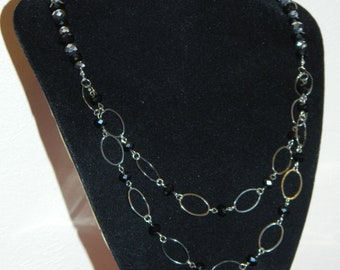 Long Silver and black crystal necklace