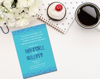 Printable blue baby sprinkle invitation / Baby Boy Sprinkle Invitation / blue baby sprinkle