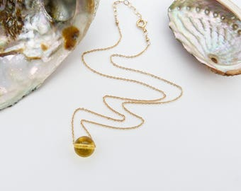 Citrine Gold Necklace, Gold Filled 14k Pendant, Delicate Gold Filled Necklace, November Birthstone, Gemstone, Anniversary Gift, Gift for Mom