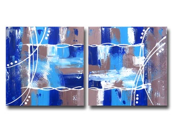 Cobalt blue diptych painting turquoise Navy white Brown