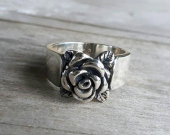 rose ring sterling silver alternative steampunk gothic art nouveau victorian flower rockabilly