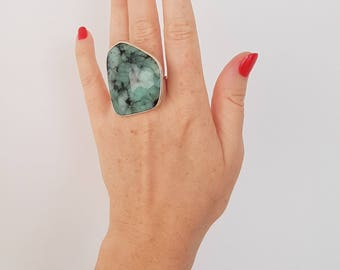 Emerald Green Color Oversized Statement Ring, Natural Gems, Jewellery, Silver, Unique, One of a Kind