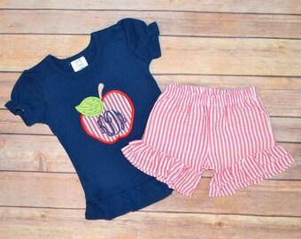 Girl preschool school outfit, back to school outfit, prek outfit, seersucker shorts, monogrammed apple shirt, back to school outfit