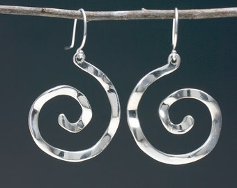 Large Spiral Silver Earrings, Large Geometric Earrings, Spiral jewelry, Wavy jewelry, Meaningful Jewelry, Gifts for Her