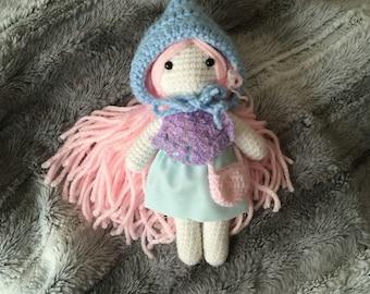 Crochet la muñeca, mini muñeca, muñeca ooak, muñeca amigurumi, muñeca linda