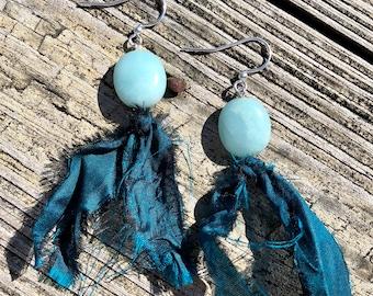 Blue Adventurine and Recycled Sari Silk Earrings