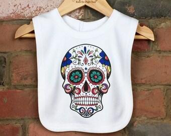 Skull Baby Bib, Sugar Skull Bib, Baby Skull, Skull Tattoo, Cool Baby Bib, Candy Skull, Baby Halloween, Skull Baby Clothes, Unique Baby Gift