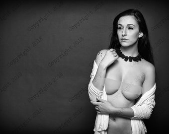 Print Sensual art nude woman photography color and black and white