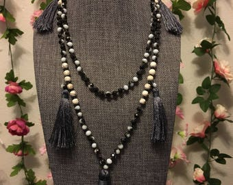 Multi tassel black and white marble beaded necklace