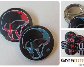Helmet pivot Helmet Roller Derby 38mm badge
