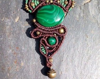 Macrame necklace with Malachite and Bell