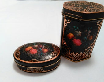 Vintage Small Set of Floral tin boxes Made in England
