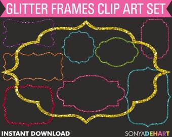 80% OFF SALE Glitter Frames, Frames Clipart, Gold Glitter Frames, Border Clipart, Digital Frames, Sparkle Frames, Glitter Frame Clipart SALE