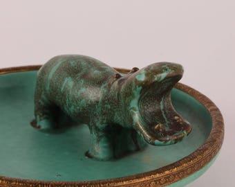 Jens Christian Jensen - Green Hippopotamus Ceramics Serving Tray - Danish Mid Century Design
