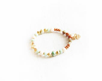 Marrakech bracelet, gold, turquoise, mint, white, cream and burnt orange beads, brilliant crystal, Moroccan inspiration, for women