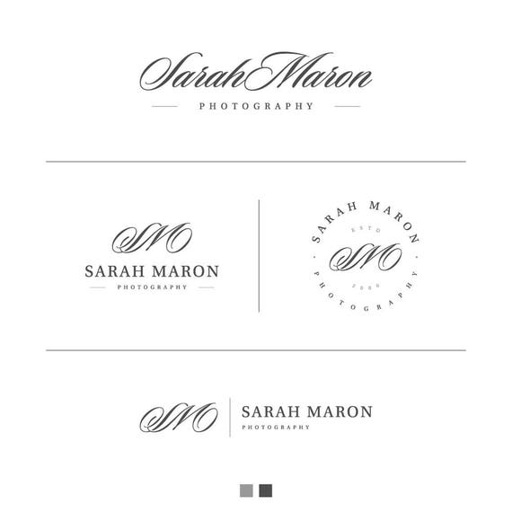 Mini Branding Kit, Branding Kit, Branding Set, Silver Logo, Photographer Logo, Elegant Logo, Small Business Logo, Calligraphy Logo, Logo