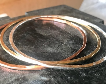 Set of Three Bangles. Copper, Brass, and Silver Bangle Bracelets. Three Bracelets. Small Bangles Large Bangles.
