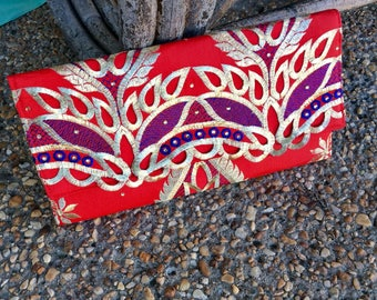 Red and Gold Embroidered African George Envelope Clutch