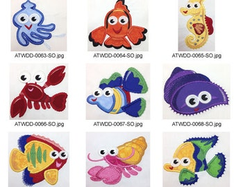 EZSea-Friends-Applique. ( 14 Machine Embroidery Designs from ATW )
