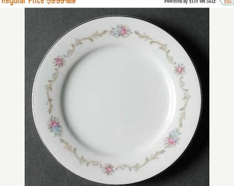 ON SALE Noritake WINTHROP 6430 Lot of 3 Bread & Butter Plates Dinnerware Tan Scrolls Pink Flowers Mint Condition