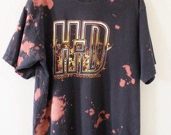 Bleach Dyed and Distressed Harley Davidson T Shirt X Large